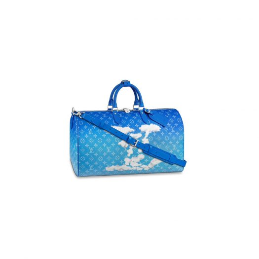 Louis Vuitton Keepall Bandouliere Clouds Monogram 50 Blue in Coated Canvas with Silver-tone