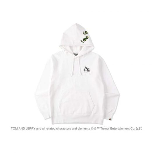 Bape X Tom And Jerry Footprints Pullover Hoodie White