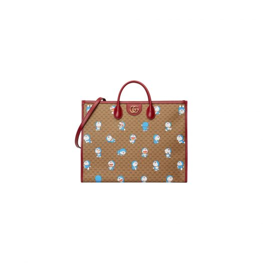 Gucci x Doraemon Tote Bag Large Ebony/Beige in Canvas with Gold-tone