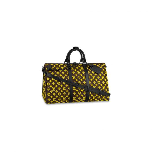 Louis Vuitton Keepall Triangle Bandouliere Monogram Tuffetage 50 Yellow in Coated Canvas with Matte Black-tone