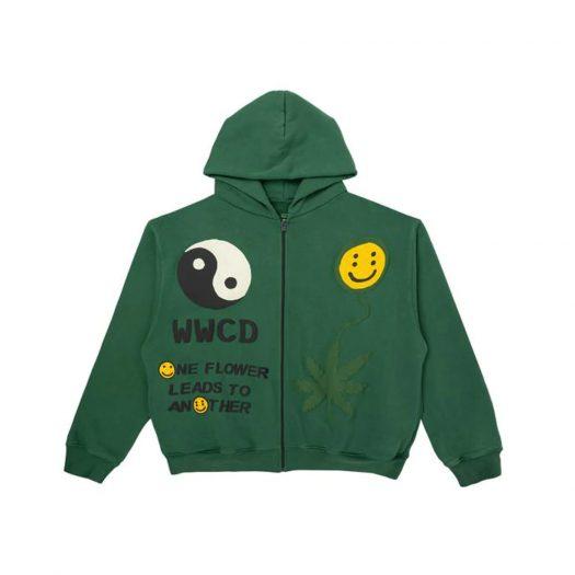 Cactus Plant Flea Market Earth First Zip Hooded Sweatshirt Green