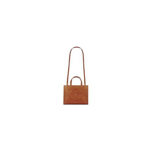 Telfar Shopping Bag Medium Tan in Vegan Leather with Silver-tone