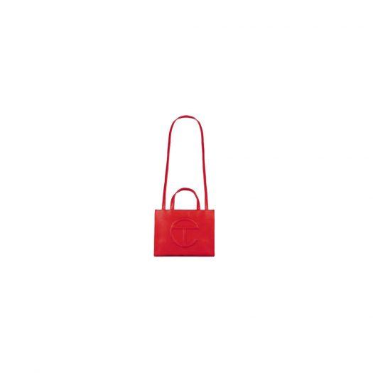 Telfar Shopping Bag Medium Red in Vegan Leather with Silver-tone