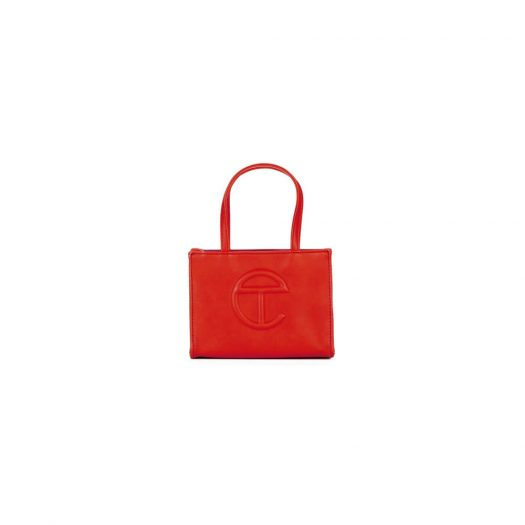 Telfar Shopping Bag Small Red in Vegan Leather with Silver-tone