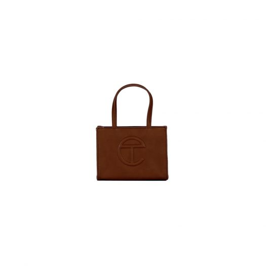 Telfar Shopping Bag Small Chocolate in Vegan Leather with Silver-tone