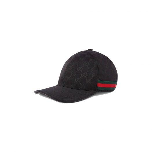 Gucci Original GG Canvas Baseball Hat with Web Black in Canvas