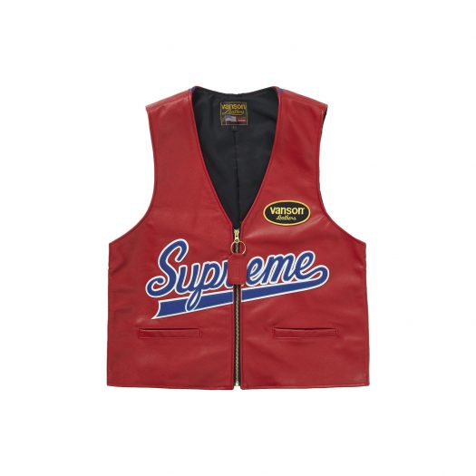 Supreme Vanson Leathers Spider Web Vest Red