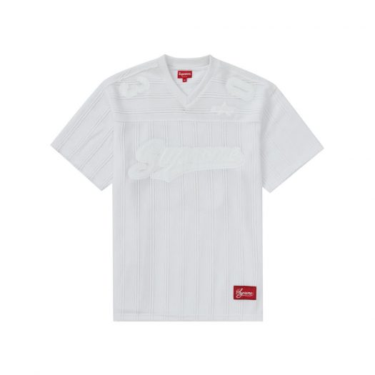 Supreme Mesh Stripe Football Jersey White