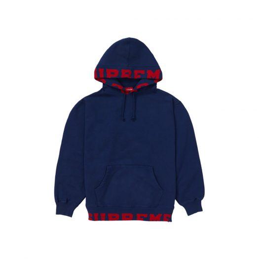 Supreme Cropped Logos Hooded Sweatshirt Dark Blue