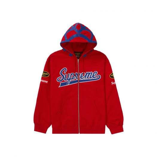 Supreme Vanson Leathers Spider Web Zip Up Hooded Sweatshirt Red