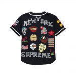 Supreme Patches Denim Baseball Jersey Black