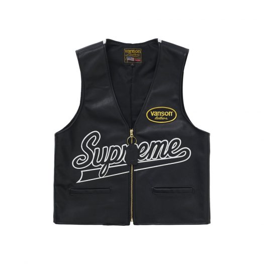 Supreme Vanson Leathers Spider Web Vest Black