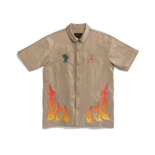 Travis Scott Cactus Jack x Jordan Button Down Shirt Khaki/University Red