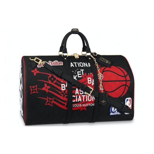 Louis Vuitton x NBA Hero Jacket Leather Keepall 55 Monogram Black in Leather
