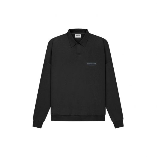 FEAR OF GOD ESSENTIALS Long Sleeve French Terry Polo Black