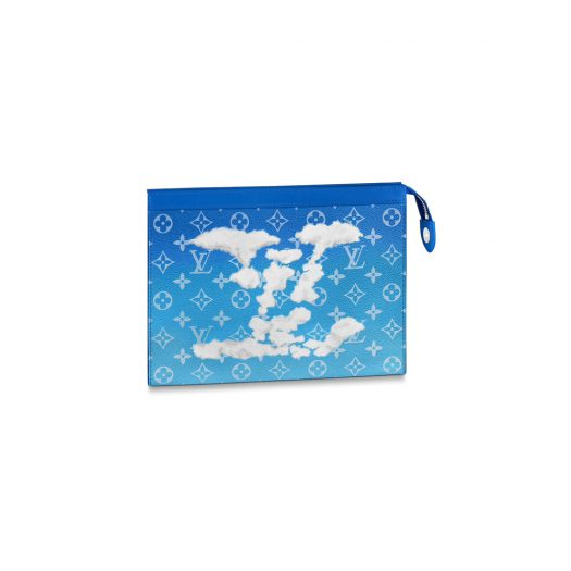 Louis Vuitton Pochette A4 Clouds Monogram Blue in Coated Canvas with Silver-tone