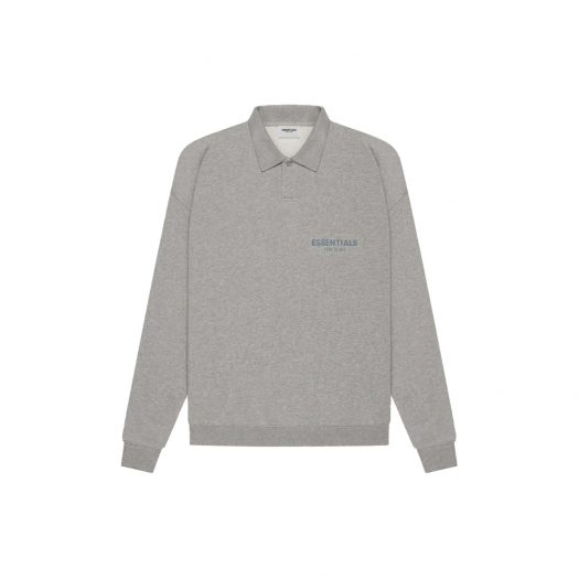 FEAR OF GOD ESSENTIALS Long Sleeve French Terry Polo Dark Heather Oatmeal