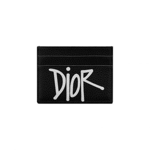 Dior And Shawn Card Holder (4 Card Slot) Black in Grained Calfskin