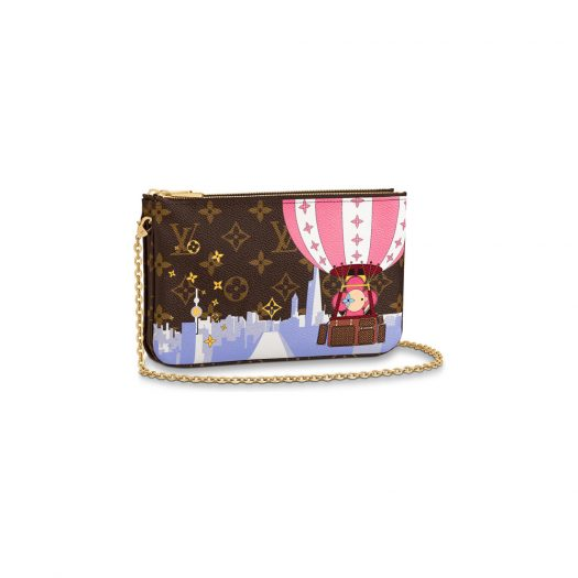 Louis Vuitton Double Zip Pochette Monogram Vivienne Shanghai Pink Lining in Coated Canvas with Gold-tone