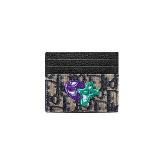 Dior x Kenny Scharf Card Holder Oblique Jacquard Beige/Black in Black Calfskin Leather