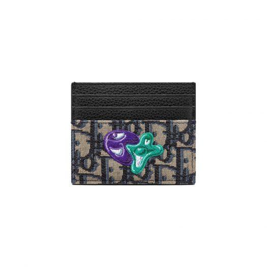 Dior x Kenny Scharf Card Holder Beige/Black in Jacquard Canvas