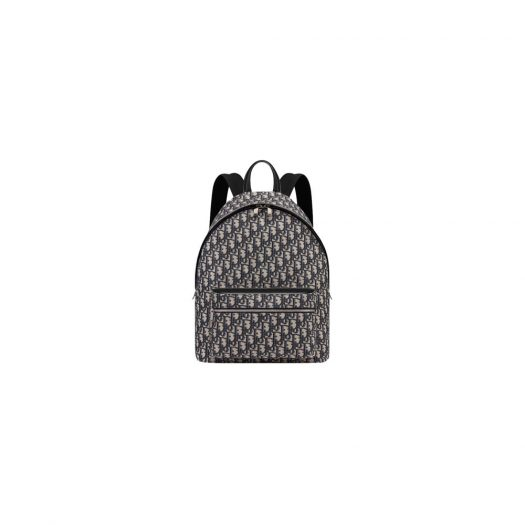 Dior Backpack Oblique Blue/Black in Canvas/Calfskin with Silver-tone