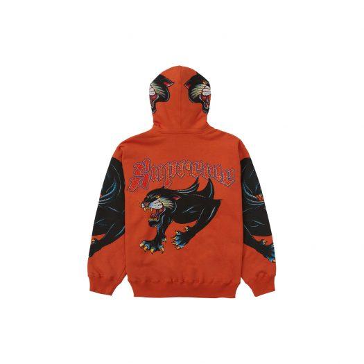 Supreme Panther Zip Up Hooded Sweatshirt Burnt Orange