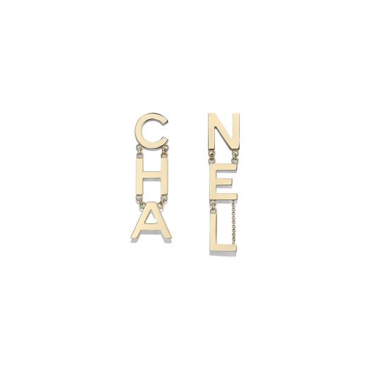 Chanel Letter Earrings Gold in Metal with Gold-tone