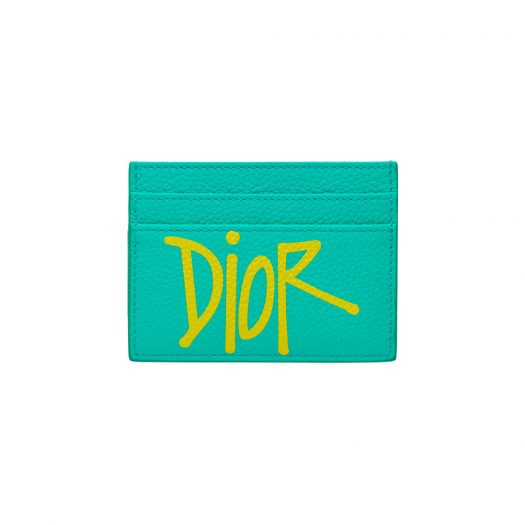 Dior And Shawn Card Holder (4 Card Slot) Green/Yellow in Grained Calfskin