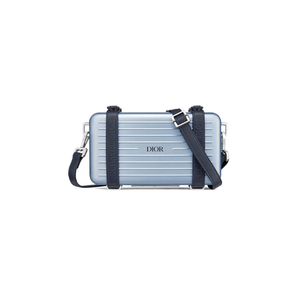 Dior x RIMOWA Personal Clutch On Strap Aluminium Blue in Aluminium/Grained Calfskin with Silver-tone