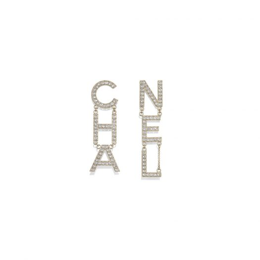 Chanel Diamantes Letter Earrings Gold/Crystal in Metal/Strass with Gold-tone