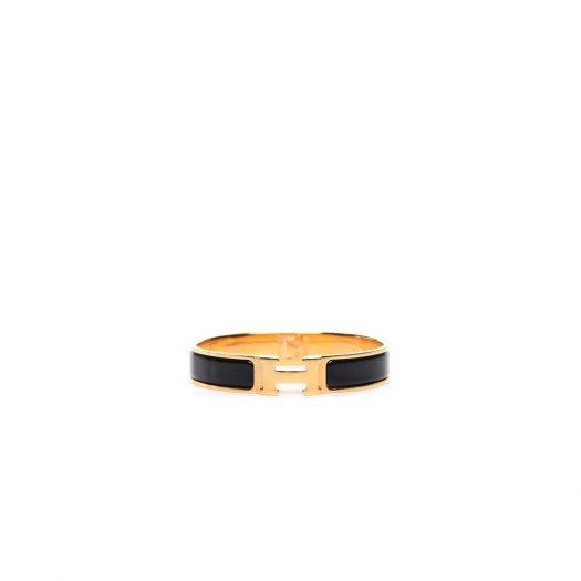 Hermes Bracelet Narrow Clic Clac H Enamel GM in Gold-Tone Metal with Gold-Tone