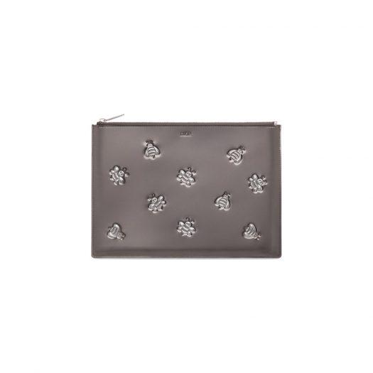Dior x Kaws Pouch Calfskin Bee Print Silver in Calfskin with Silver-tone