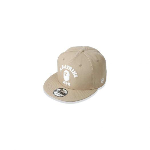 Bape College New Era Snapback Hat Beige