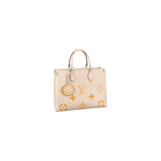 Louis Vuitton Onthego MM Cream/Saffron in Embossed Grained Cowhide Leather with Gold-tone