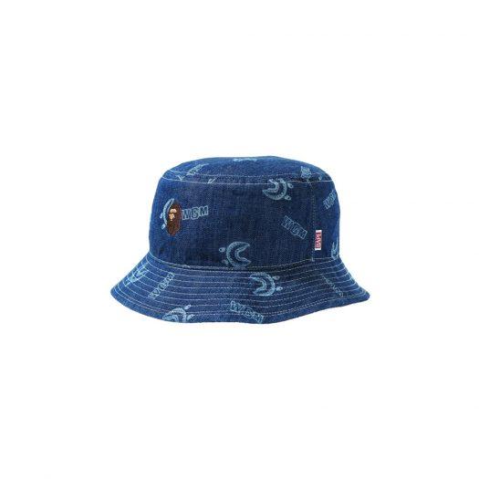 Bape Shark Pattern Denim (W) Bucket Hat Indigo