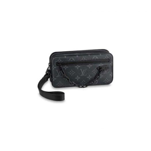 Louis Vuitton Pochette Volga Monogram Eclipse Black in Coated Canvas/Leather with Black