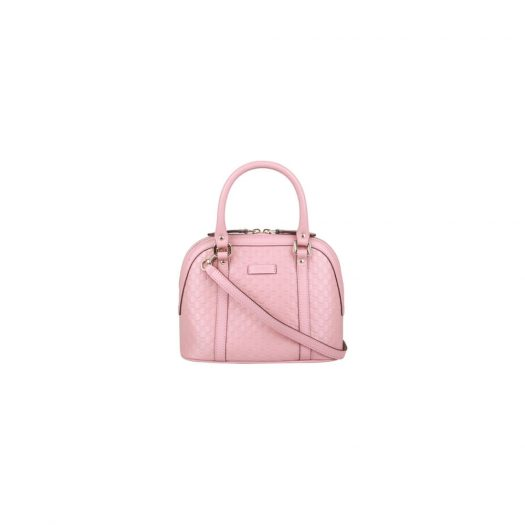 Gucci Dome Sling Bag MicroGuccissima Pink in Leather with Gold-tone