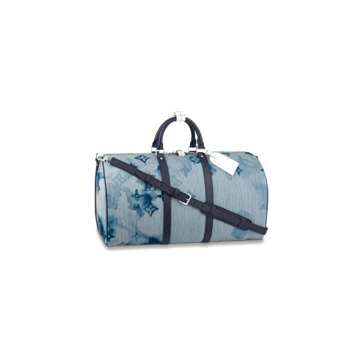 Louis Vuitton Keepall Bandouliere 50 Hickory Stripes Denim Watercolor in Cotton Canvas with Silver-tone