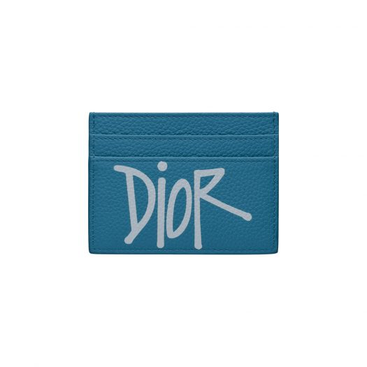 Dior And Shawn Card Holder (4 Card Slot) Navy Blue in Grained Calfskin