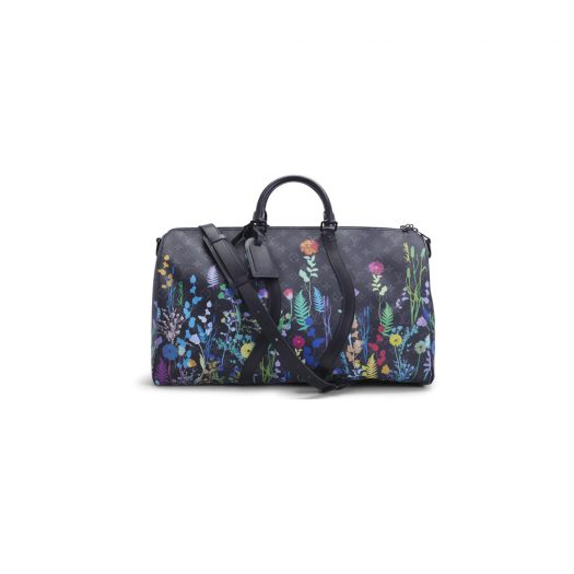 Louis Vuitton Keepall Bandouliere Monogram Eclipse 50 Foliage in Coated Canvas with Matte Black-tone
