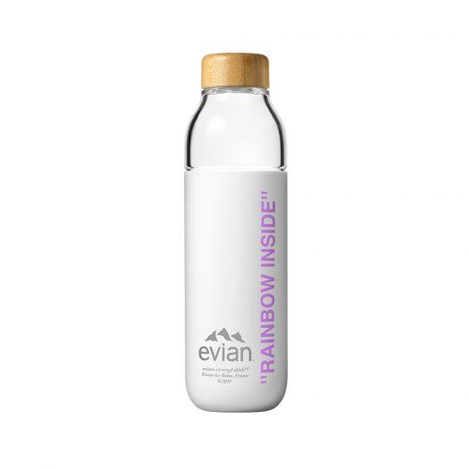 EVIAN BY VIRGIL ABLOH x SOMA Rainbow Inside Refillable Glass Water Bottle White/Purple