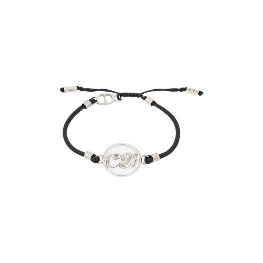 Dior x Kenny Scharf Bracelet Silver and Black Calfskin in Metal and Black Calfskin with Silver-tone