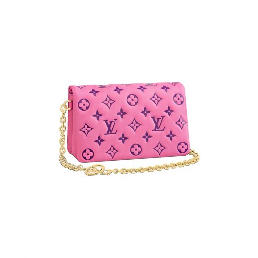 Louis Vuitton Pochette Coussin Pink/Purple in Lambskin with Gold-tone