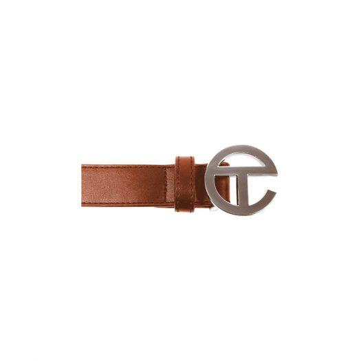 Telfar Logo Belt Tan in Vegan Leather with Silver-tone