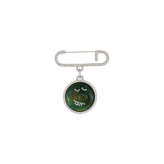 Dior x Kenny Scharf Brooch Jade Stone Silver in Silver Finish Brass with Silver-tone