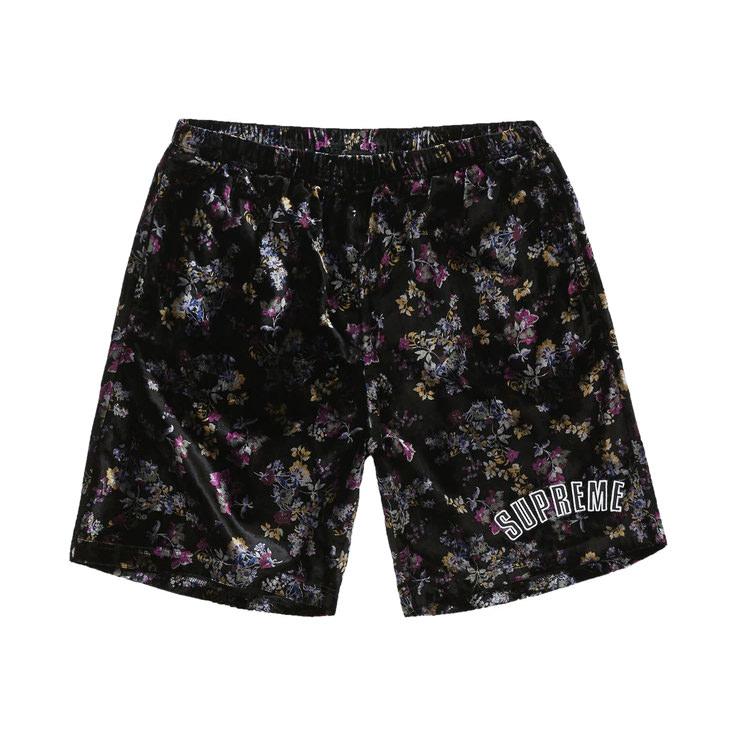 Supreme Floral Velour Short Black