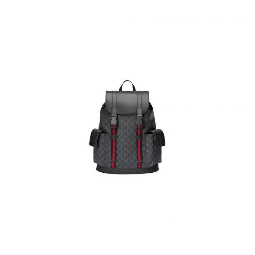 Gucci Soft Backpack GG Supreme Blue/Red Web Black/Grey