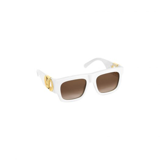 Louis Vuitton LV Link Square Sunglasses White in Acetate with Gold-tone