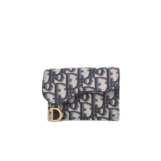 Dior Saddle Card Holder Oblique Blue